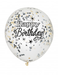 6 palloncini Happy Birthday con coriandoli argento e oro