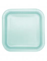 14 piatti quadrati in cartone color menta 22 cm