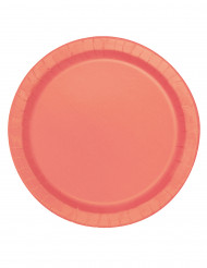 16 piatti in cartone corallo 23 cm