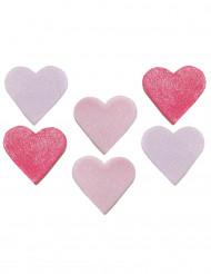 6 cuori di zucchero rosa e fucsia per torte