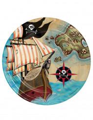 8 piattini in cartone isole dei pirati 18 cm