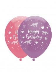 6 palloncini rosa e viola tema unicorno