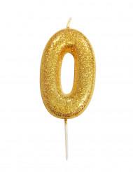 Candela numero 0 brillantini oro