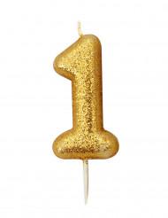Candela numero 1 brillantini oro