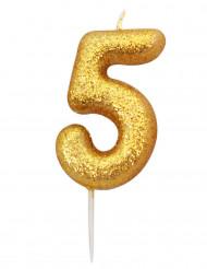 Candela numero 5 brillantini oro