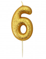 Candela numero 6 brillantini oro