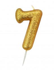 Candela numero 7 brillantini oro