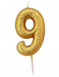 Candela numero 9 brillantini oro