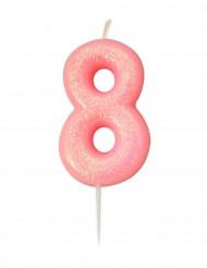 Candela numero 8 rosa iridescente