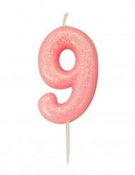 Candela numero 9 rosa iridescente