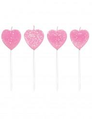 10 candeline con cuori rosa