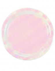 12 piatti in cartone rosa iridescenti 23 cm