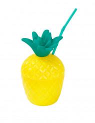 Bicchiere a forma di ananas con cannuccia