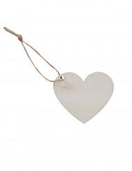 6 etichette in legno a forma di cuore