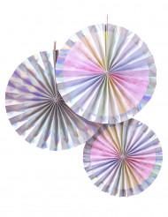3 rosoni iridescenti in cartone