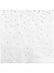 20 tovagliolini bianchi con stelle argentate