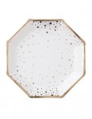 8 piatti in cartone bianchi con stelle oro 23 cm