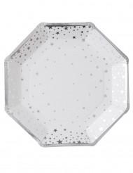8 piatti di cartone bianchi con stelle argento 23 cm