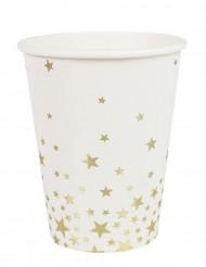 8 bicchieri in cartone bianchi con stelle oro