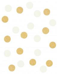 Coriandoli rotondi bianchi e oro