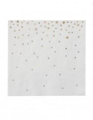 20 tovagliolini bianchi con stelle oro