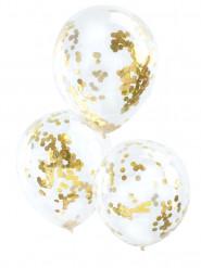 5 palloncini trasparenti con coriandoli dorati