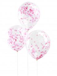 5 palloncini trasparenti con coriandoli rosa
