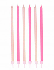 24 candeline di compleanno con brillantini rosa e bianche