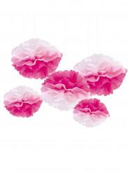 5 pon pon di carta sfumati rosa e bianchi