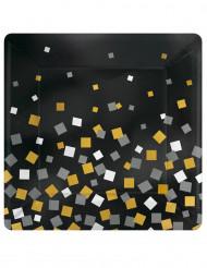 8 piatti quadrati in cartone con coriandoli oro e argento 26 cm