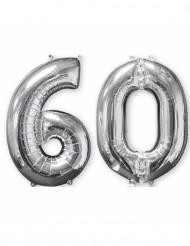 2 palloncini in alluminio argento 60 anni