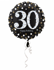 Palloncino alluminio Happy Birthday scintillante 30 anni