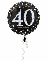 Palloncino alluminio Happy Birthday scintillante 40 anni