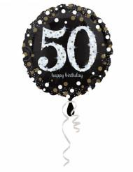 Palloncino alluminio Happy Birthday scintillante 50 anni