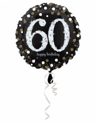 Palloncino alluminio Happy Birthday scintillante 60 anni