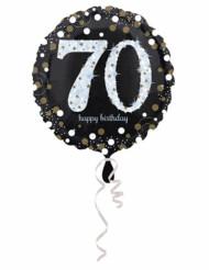 Palloncino alluminio Happy Birthday scintillante 70 anni