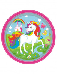 8 piatti in cartone con unicorno ed arcobaleno 23 cm