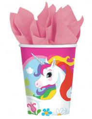 8 bicchieri in cartone unicorno arcobaleno