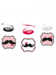 6 decorazioni a spirale baffi rosa