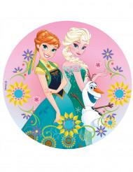 Disco di zucchero Frozen™ con Anna ed Elsa