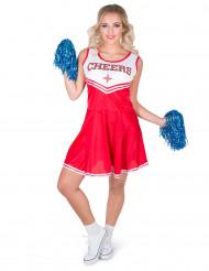 Costume da cheerleader rosso per donna