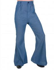 Pantalone a zampa di elefante disco color jeans adulto