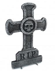 Decorazione pietra tombale con croce e teschio