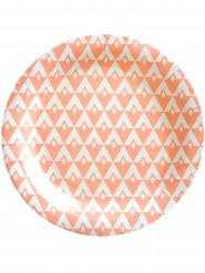 10 piatti di cartone motivo color pesca 23 cm