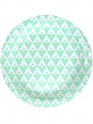 10 piatti di cartone motivo color menta 23 cm