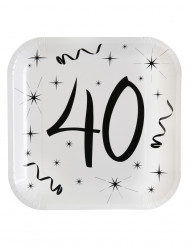 10 piatti quadrati in cartone 40 anni 23 cm