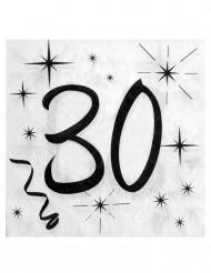 20 tovaglioli di carta 30 anni bianco e nero