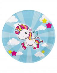 8 piatti di cartone piccolo unicorno 23 cm
