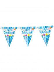Ghirlanda blu con bandierine Buon compleanno