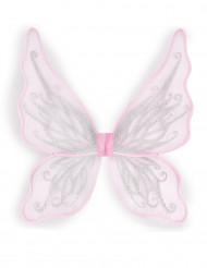 Ali da farfalla rosa con brillantini argento bambina